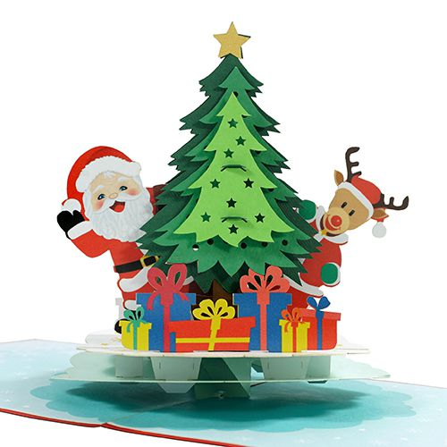 Christmas and new year 3D popup card